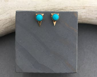 Turquoise triangle minimalist stud earrings with sterling silver posts
