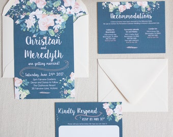 Wedding Invitation Suite {Navy & Roses}