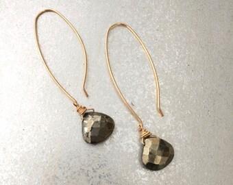 Pyrite Long Earrings - Positive, Manifestation Gemstine - 3rd Chakra Jewelry - ZEN by Karen Moore - 14kt Gold-filled