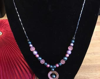 Pink and Blue Spring Necklace