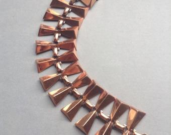 50's Renoir Copper Look Bracelet, links, mid century, designer signed Renoir, Greece