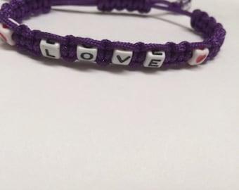 Purple Macrame Love Bracelet