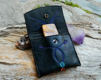 Mookaite Jasper Palm Stone in Medicine Pouch Recycled Leather Medicine Bag OOAK by Ariom Designs