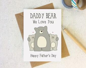 Daddy Bear We Love You Fathers Day Card - card for daddy - fathers day - cute card - card for dad - bear card - cute bears - daddy card
