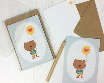 Bear Note Cards - flat cards - cute notecards - childrens thank you cards - thankyou cards for kids - postcards - birthday thank you cards