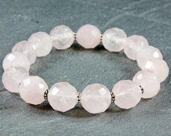 Rose Quartz Bracelet, stretchy, rose pink gemstone, statement, boho bracelet, chunky, bold, holiday gift, bridal, wedding, bridal, 3967
