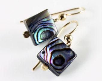 Abalone Earrings, Gold filled earrings, abalone squares, artisan earrings, dangle earrings with iridescent green blue gemstone, gift for her