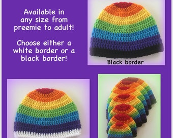 Rainbow hat - any size, adult, baby, child, toddler, 0-3 months, 3-6 months, newborn, gay pride white, black, rainbow hat