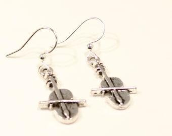 Violin Earrings - Silver Violin Earrings - Music Earrings - Violin Jewelry - Violin Gift - Gift for Her - Violin Charm - Music Charm Jewelry