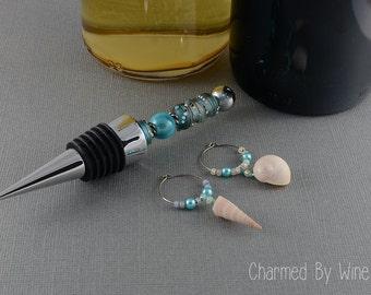 Wine Stopper Set : Beaded Wine Bottle Stopper and Charms; Hostess Gift Idea