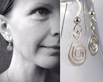 Sterling Silver Spiral Earrings - Koru Spiral -  Hammer Formed - Subtle Hammered Texture