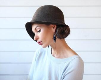 German vintage dark green brown wool women short brim cloche bucket hat