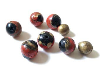 Hand Painted Vintage African Beads.  Black, red & gold
