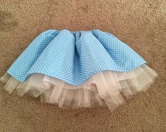 2T-3T Down the Rabbit Hole Skirt - Tulle full skirt tutu baby blue polka dots toddler cute pastel princess