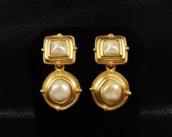 ANNE KLEIN Matte Gold and Faux Pearl Dangle Earrings
