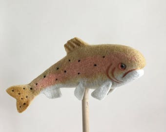 Needle Felted Trout // Trout Finger Puppet // Felted Trout // Felted Fish