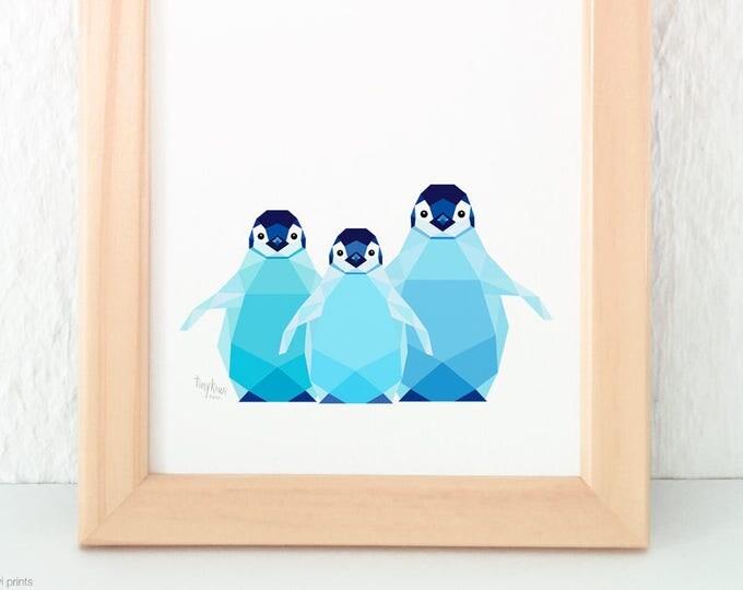 Baby penguin print, Baby penguins, Art for siblings, Geometric penguin, Print for baby, Baby wall art, Kids nursery art, Antartica wildlife