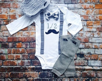 Mustache Baby Boy 1/2 Birthday Outfit - Little Man, 6 Month Bow Tie Bodysuit, Button Leg warmers, Hat, Cake smash, Half Birthday, Argyle
