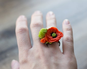 Nature ring - nature inspired jewelry - botanical ring - botanical jewelry - floral jewelry - flower jewelry - leaf jewelry - poppy ring