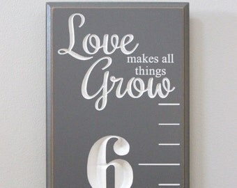 Fully Carved Wooden Growth Chart for Children - Love makes all things grow