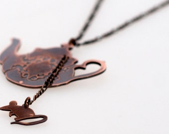 The Dormouse and the Teapot - Alice in Wonderland Inspired Copper Teapot and Dormouse Necklace, with Antique Copper Chain and Findings
