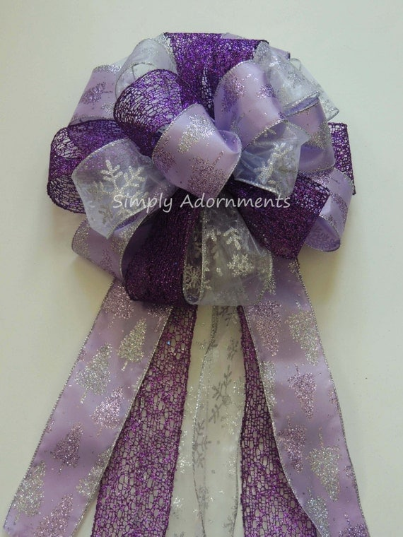 Purple Lavender Christmas Tree Topper Bow Purple Silver Snowflakes Wreath Bow Purple Lavender Wedding Pew Bow Purple Snowflakes Gift Bow