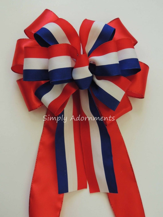 Red Blue White Bow July 4th Party decor Patriotic Wreath Bow Americana Swag Bow Patriotic Wedding Pew bow Patriotic Handmade Bow Gift bow