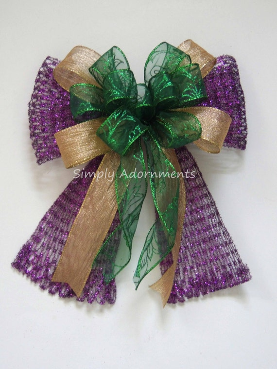 Mardi Gras Wreath Bow Mardi Gras Purple Gold Green Wreath Swag Bow Mardi Gras Gift Bow Mardi Gras Door Hanger Decoration Mardi Gras Pew Bow