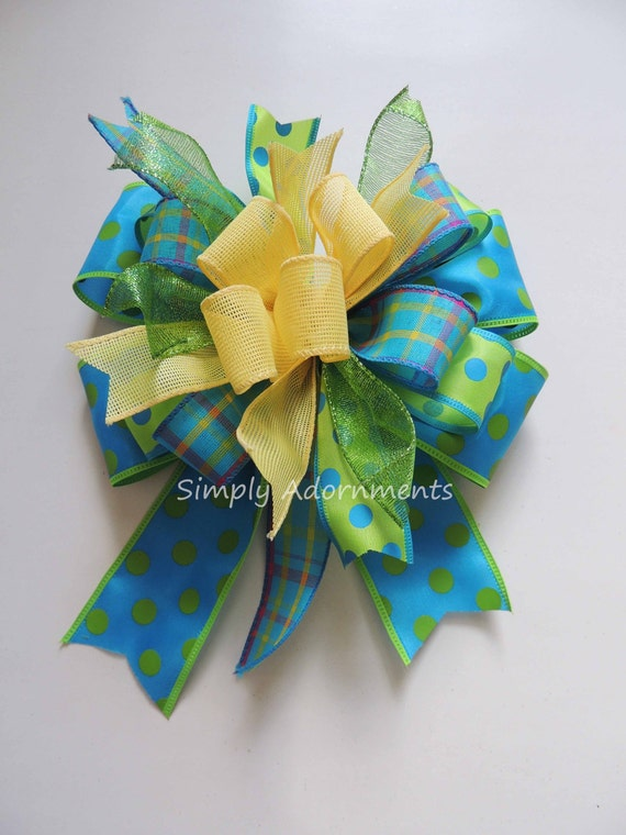 Whimsical Easter Wreath Bow Turquoise lime Yellow Spring Wreath Bow Funky Turquoise Lime Yellow Swag bow Easter Gift Bow Lantern Bow