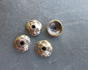 4pc pure Bronze Bead Caps rustic hammered texture 8mm Artisan style boho chic Made in the USA BC100-B