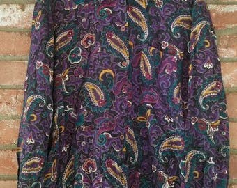 Vintage Womens 80's Button Down Paisley Pattern Blouse Shirt  Collared shirt Size Medium 90's