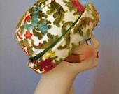 Tapestry Hat / Vtg 60s / Green Blue Rust Chenille Tapestry Hat / Fedora /