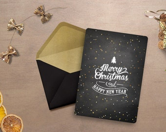Black Christmas Card, Black and Gold, Christmas Cards, Holiday Cards, Gold Christmas Card, Personalized Christmas Card, Custom Greeting Card