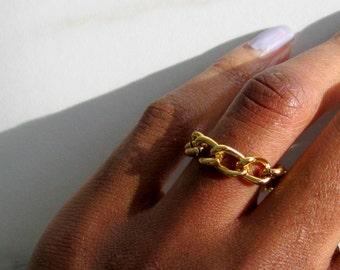 Curb chain ring, gold ring, knuckle ring, thumb ring, midi ring, stackable ring, stacking rings, gold minimal ring, gift for her, boho ring