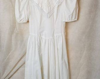XS Extra Small Vintage 80s Cotton/blend short Puff Sleeve Princess Spring Summer Sleeve Bow Garden Party Midi Dress easter christening