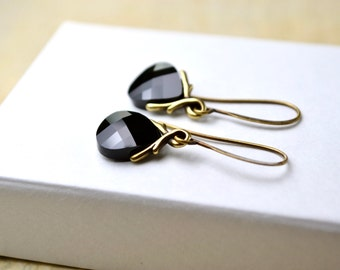 Black Crystal Earrings, Black Earrings, Swarovski Drop Earrings, Dangle Earrings, Briolette Earrings, Black Jewelry, Wife, Gifts Under 30