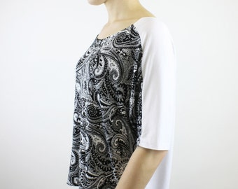 batwing shirt paisley pattern black white handmade Berlin unique