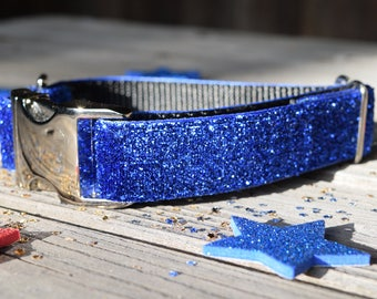 Sparkly Blue July 4th Dog Collar, Fourth of July Dog Collar, Cobalt, Independence Day Dog Collar, July 4th, Adjustable with Metal Hardware