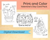 DIGITAL DOWNLOAD: Valentine's Day Card Pack, Love cards, Printable Cards, Cute Printable Cards, Coloring Cards, Unique Cards, instant