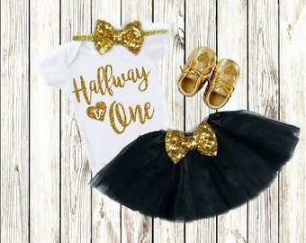 6 Months Birthday Outfit, 6 Months Photo Outfit Girl, Half Birthday Outfit Girl Clothes, Half Birthday Shirt Gold Black Halfway To One