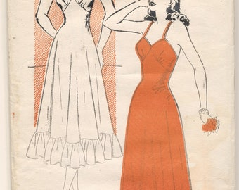 New York Pattern 294 Ladies Full Slip Lingerie 1930s Bust 32