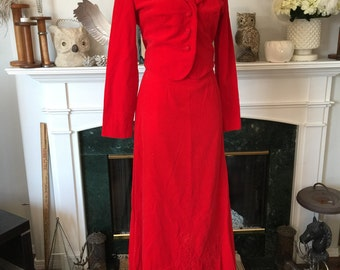 70s Red Velvet Puff Embroidered Equestrian Dress Suit