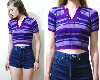 70s Vintage STRIPE KNIT Crop T-shirt Purple Tight Slim Fit Short Sleeve Sweater Ribbed Knitted Retro Bohemian Hippie Top 1970s vtg XXS