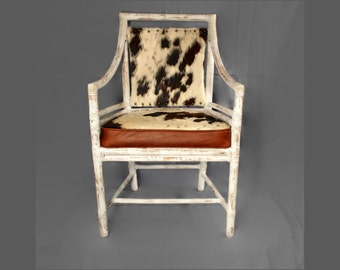 Vintage Rattan Bamboo Armchair - McGuire - Target Back - Upcycle - Hair on Cowhide - Leather Chair