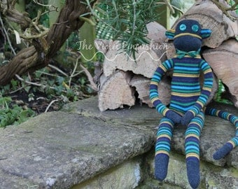 Extra Large Grey, Green, Yellow and Blue Stripey Sock Monkey