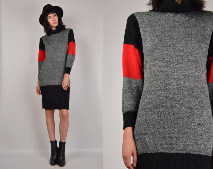 80's Midi Sweater Dress turtle neck