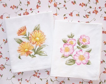 Watercolor Style Flower Kitchen Towel Designs Embroidered Flour Sack Towels Set of 2