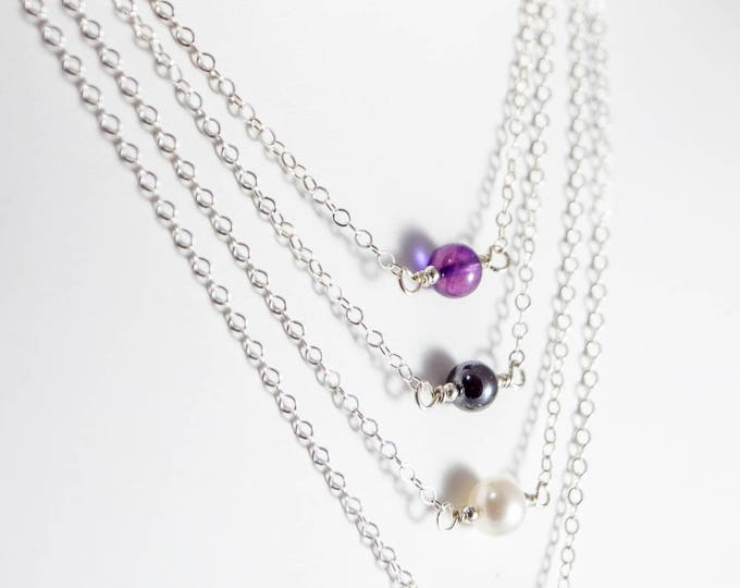 L'amour Necklace - Choice of Amethyst, Hematite, White Fresh Water Pearl or Turquoise