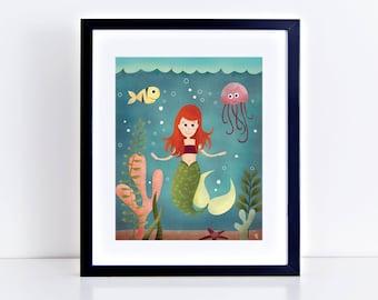 a Little Mermaid Giclee Print 8 x 10 inches
