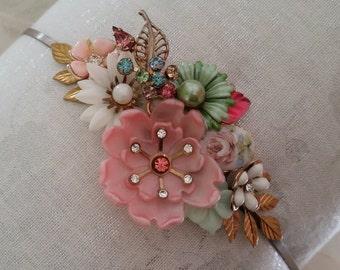 SECRET GARDEN Vintage Assemblage Bridal Headband Bride Bridesmaids Flower Girl Dainty Pink Sage White Blue Gold Cameo Shabby Summer Wedding